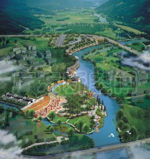 湖南汝城溫泉文化廣場景觀規劃設計與施工(附簡圖)